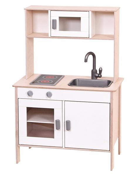 Spielküche aus Holz, Weiss/Natur