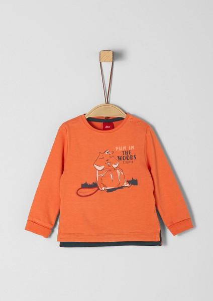 Langarmshirt mit Artwork ,Orange