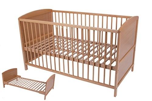 Babybett,Kinderbett ,Juniorbett, umbaubar 140x70 cm, Buche natur massiv