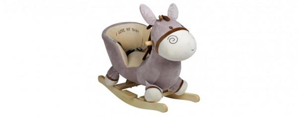 """Schaukeltier """"Esel"""" mit Gurt - kuscheliger Spielspaß ab 6 Monaten"""